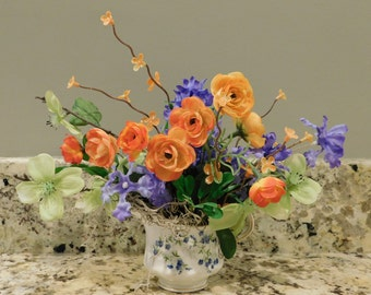 Silk Floral Arrangement in English Bone China Creame