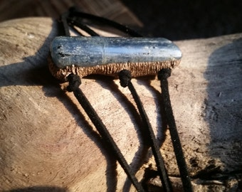 Blue Polished Kyanite Leather Bracelet