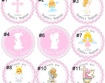 Baptism stickers for girl,Girl Baptism thank you tags stickers,Christening stickers for girl,Holly Communnion thank you stickers tags