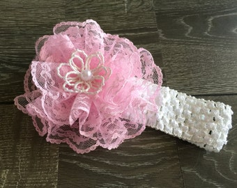 PINK LACE HAIRBOW,  Pink Hairbow,  Pink Hairbow, Pink Baby Hairbow, Lace Hairbow, Baby Bows, Baby Headband, Pink and White Hairbow