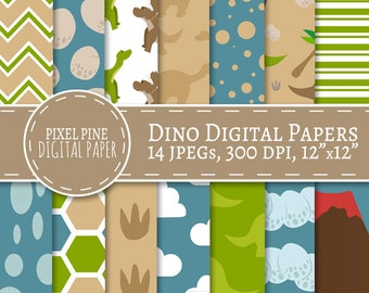 Dinosaur Digital Paper, 14 JPGs, Commercial Use, dino digital paper designs, diy scrapbooking, green blue jurassic digital paper, instant