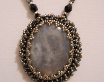 BEZELED MARBLED CABOCHON Necklace w/ Silver Plated Clasp