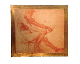 Floretine Gilt Framed Wall Plaque of Michaelangelo Sepia Toned Lithograph