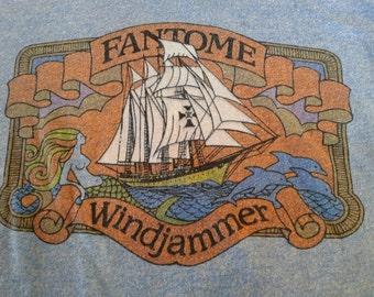1970s Nautical Windjammer Cruises Ship The Fantome Shipwreck Rare Tee Shirt Insane History Tragic Ending