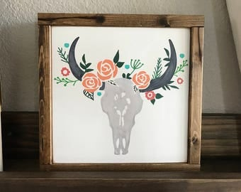 Cow Skull with Flowers Wood sign