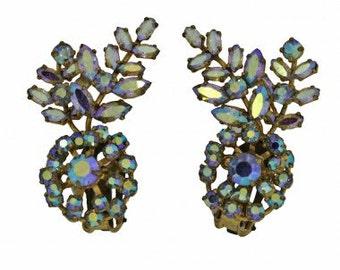 1960s Aurora Borealis Iridescent Rhinestone Floral Vintage Earrings