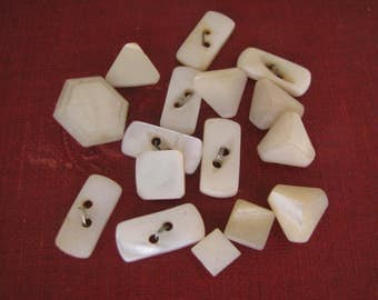 16 Assorted Shapes Vintage Mother of Pearl Buttons