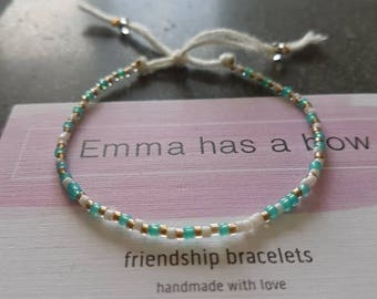 """Dainty """"stay hydrated"""" Morse code motivational bracelet in turquoise/white/gold"""