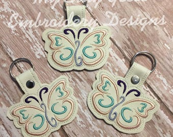 DIGITAL FILE 4x4 5x7 Butterfly key fob snap tab keychain embroidery design