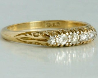 Vintage ring 18 k gold with diamonds