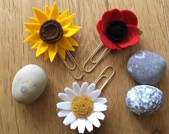 Set of Summer Flowers Felt Planner Clips ~ Sunflower, Daisy and Poppy