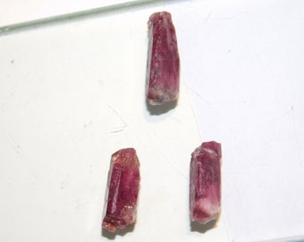 Tourmaline loose gemstone, Pink Rubbellite Tourmaline, Natural Tourmaline Rough, Freeform Pencil Tourmaline Gemstone 42 Cts. 3 Pcs. #129N