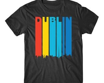 Retro 1970's Style Dublin Ireland Cityscape Downtown Skyline Shirt
