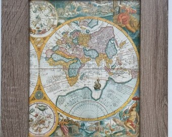 Large Framed Print of Antique Map of the World