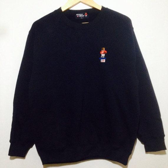 Rare!! Vintage WORLD BEAR USA Flag Small Logo Embroidery Crew Neck Pullover Sweatshirt Dark Blue Large Size