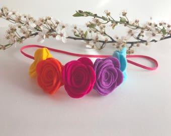 Rainbow felt flowercrown floral baby headband cute boho