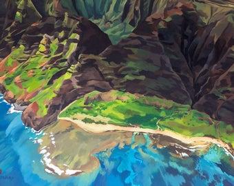 "8x10"" Na Pali Hawaii Art Print - Kauai beach, ocean, landscape painting, Hawaiian artwork print, Na Pali coast acrylic painting"