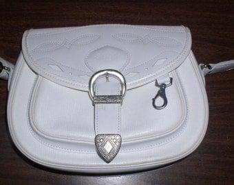 Purse, Shoulder Bag, Vintage, White SOCO French Shoulder Bag, Purse Made In France