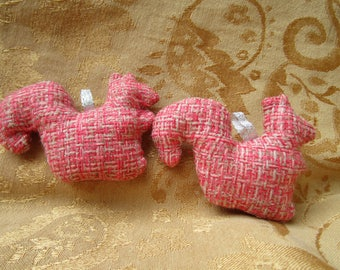 Pink Squirrel Ornaments, Upcycled Fabric Christmas Tree Holiday Decorations Handmade Woodland Animal Cottage Chic Creatures