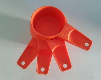 Bright Orange Tupperware Measuring Cups Vintage Retro