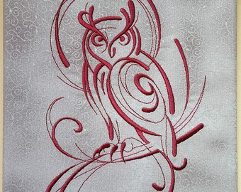 Embroidered Swirly Owl