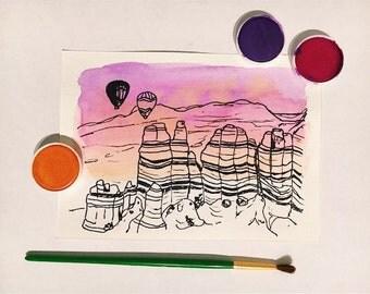 Sedona orginal watercolor art print