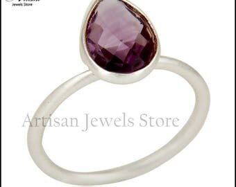 Amethyst Ring, Amethyst Jewelry, Gemstone Ring, Drop Ring, Sterling Silver Ring, February Birthstone Ring, Stacking Ring, Women Ring