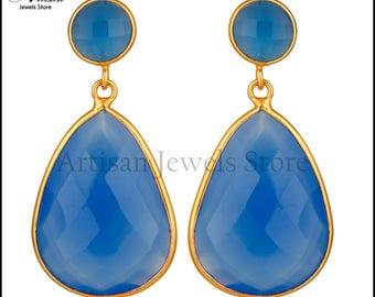 Blue Chalcedony Gemstone Earrings, Chalcedony Earrings, Dangle Earrings, Sterling Silver Earrings, Gemstone Earrings, Drop Earring