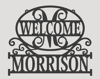 Personalized Custom Name Monogram Welcome  Door Wall Hanger