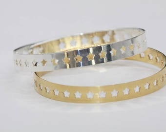ring silver - or gold-plated star bracelet star