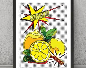 Lemons print, Lemons poster, Lemons art, kitchen print, kitchen art, kitchen pop art, pop art poster, pop art print, Lemons pop art