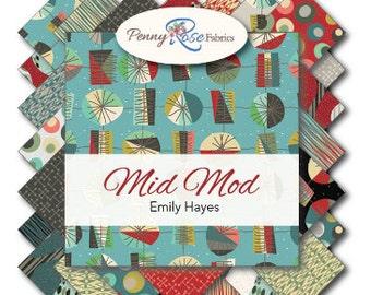 Riley Blake Designs Mid-Mod Designs 1 yard of each print gray color way - 6 yards total!