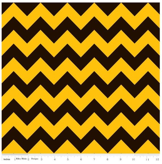 Riley Blake Black and Gold Chevron flannel fabric from ...