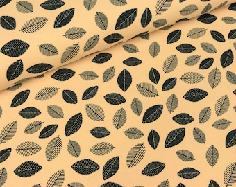 Cotton Jersey Malo leaves black on apricot (9,90 EUR / meter)