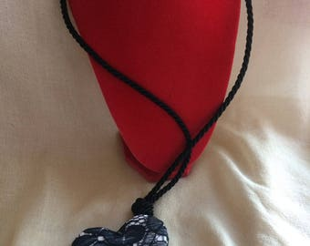 Pendant with Black Lace heart