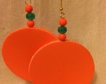 Fluorescent orange large earring