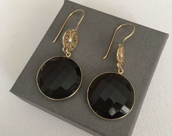Handmade Smoky Quartz earrings vermeil 22 k gold plated on Silver (925)