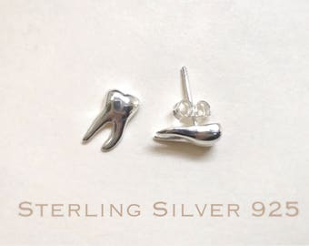 Sterling silver teeth stud earrings, Dental earrings, molar earrings, dental gifts, tooth earrings, dentist earrings, dental jewelry.