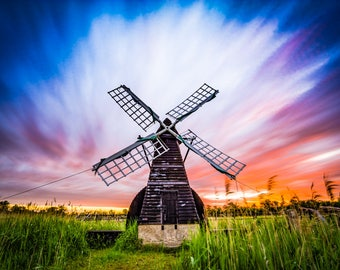 Sunrise at Wicken Fen wind pump, Cambridgeshire, UK