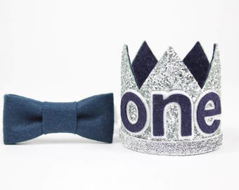 First Birthday Outfit Boy Crown | Baby Boy Birthday Party Hat | First Birthday Glitter Crown | 1st Birthday Hat | Silver + Navy ONE