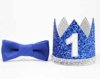 First Birthday Outfit Boy Crown | Boy Birthday Party Hat | First Birthday Glitter Crown | 1st Birthday Hat | Royal Blue + Silver 1