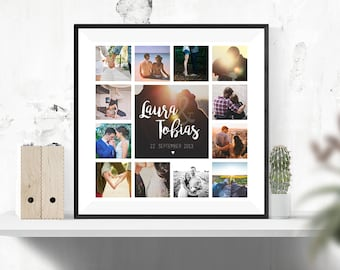 Individual poster as a gift idea for couples or wedding couples 50 cm x 50 cm