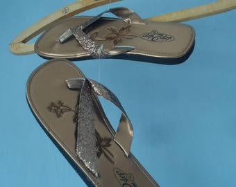 New old stock Flip-Flops 40/41 copper glitter summer beach festival vacations holiday sandals new shiny