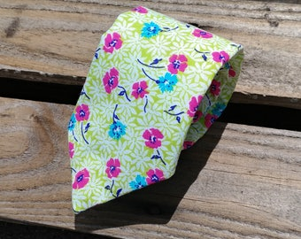 Lime Green Spring Time Necktie, Blue and Pink Flower Necktie, Floral Necktie, Green Necktie