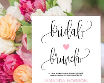 Bridal Brunch Invitation Black and White Blus Pink Heart Print on Kraft - Bridal Brunch Invites Printable  Downloadable Wedding #WDH875732