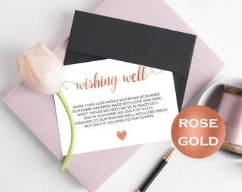 Wishing Well Card - Wedding Wishing Well - Wishing Well Template - Rose Gold Wedding - Lieu of gifts - Downloadable wedding #WDH812225