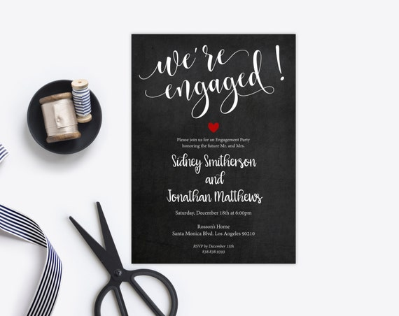 Engagement Invitation - Wedding Printable - We're Engaged Invitation - Printable Wedding - Editable Template - Downloadable Wedding #WDH0203