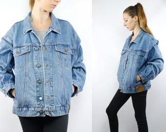 Vintage Denim Jacket / Vintage Jean Jacket / Oversize Jean Jacket / Truck Jacket / Grunge Jacket / Hipster Jacket / Denim Jacket / 90s
