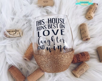 Love, Laughter, Wine//Glitter Dipped//Stemless Wine Glass//Famlily//Wine Lover