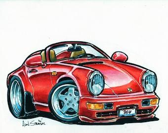 Red Porsche Speedster - Original drawing - Matted & Bagged